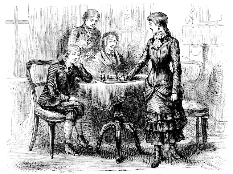 A drawing of women playing chess in a family setting.
