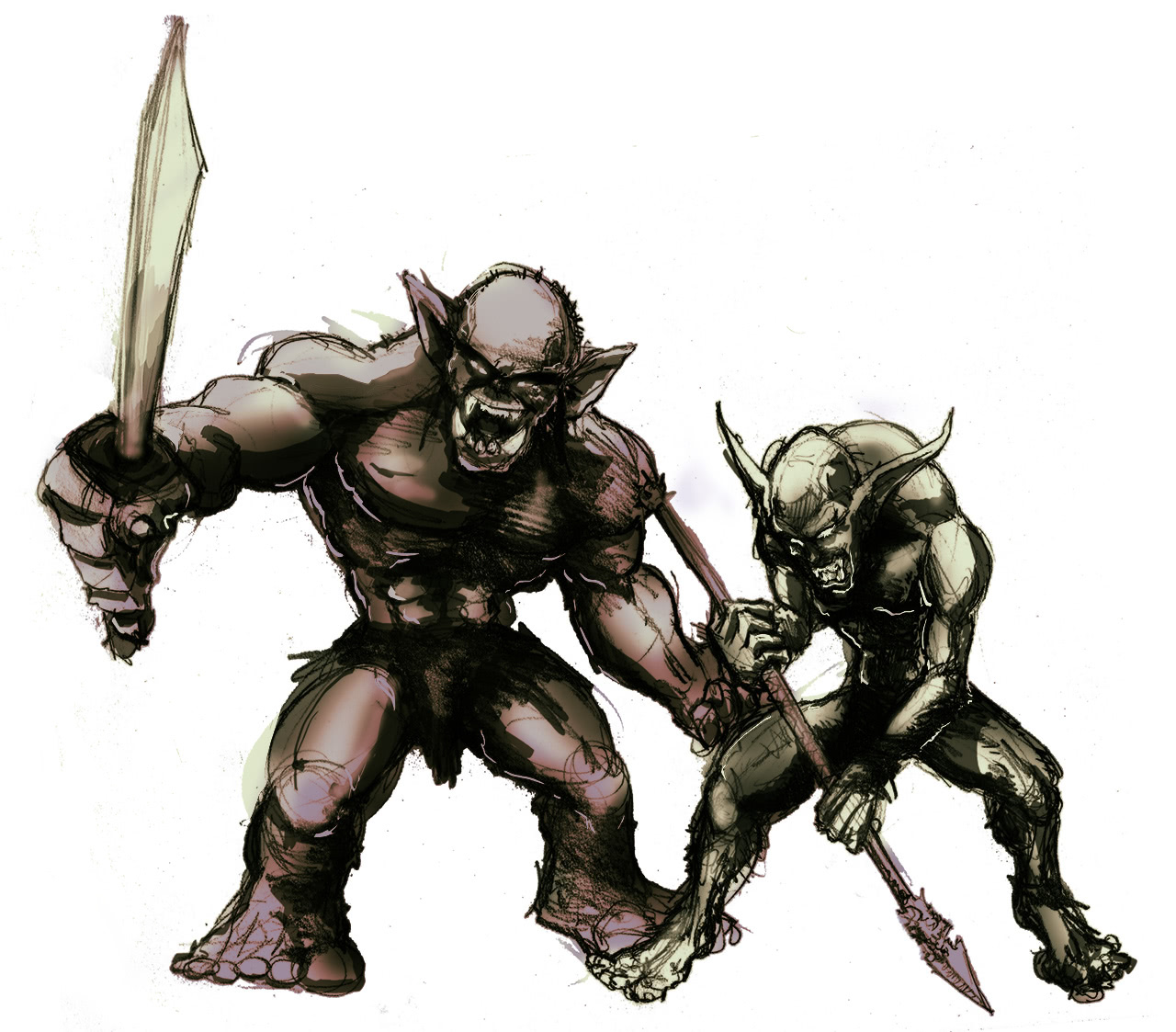 A picture of an orc and a goblin, armed.